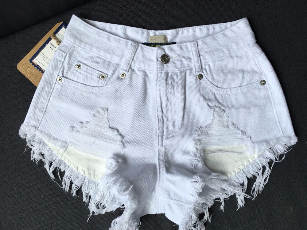 Fashion Cotton Hot Denim Shorts Women Sexy Hole White Frayed Edges High Waist Short Jeans Pockets Ripped Shorts 031606