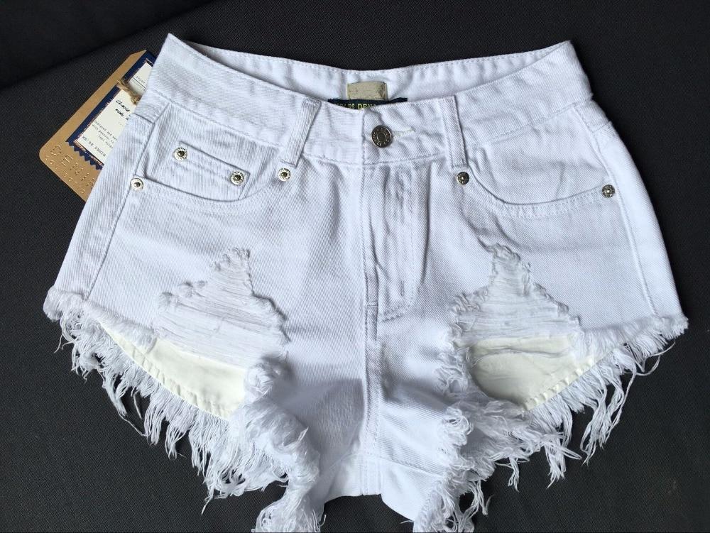 Fashion Cotton Hot Denim Shorts Women Sexy Hole White Frayed Edges High Waist Short Jeans Pockets Ripped Shorts 031606