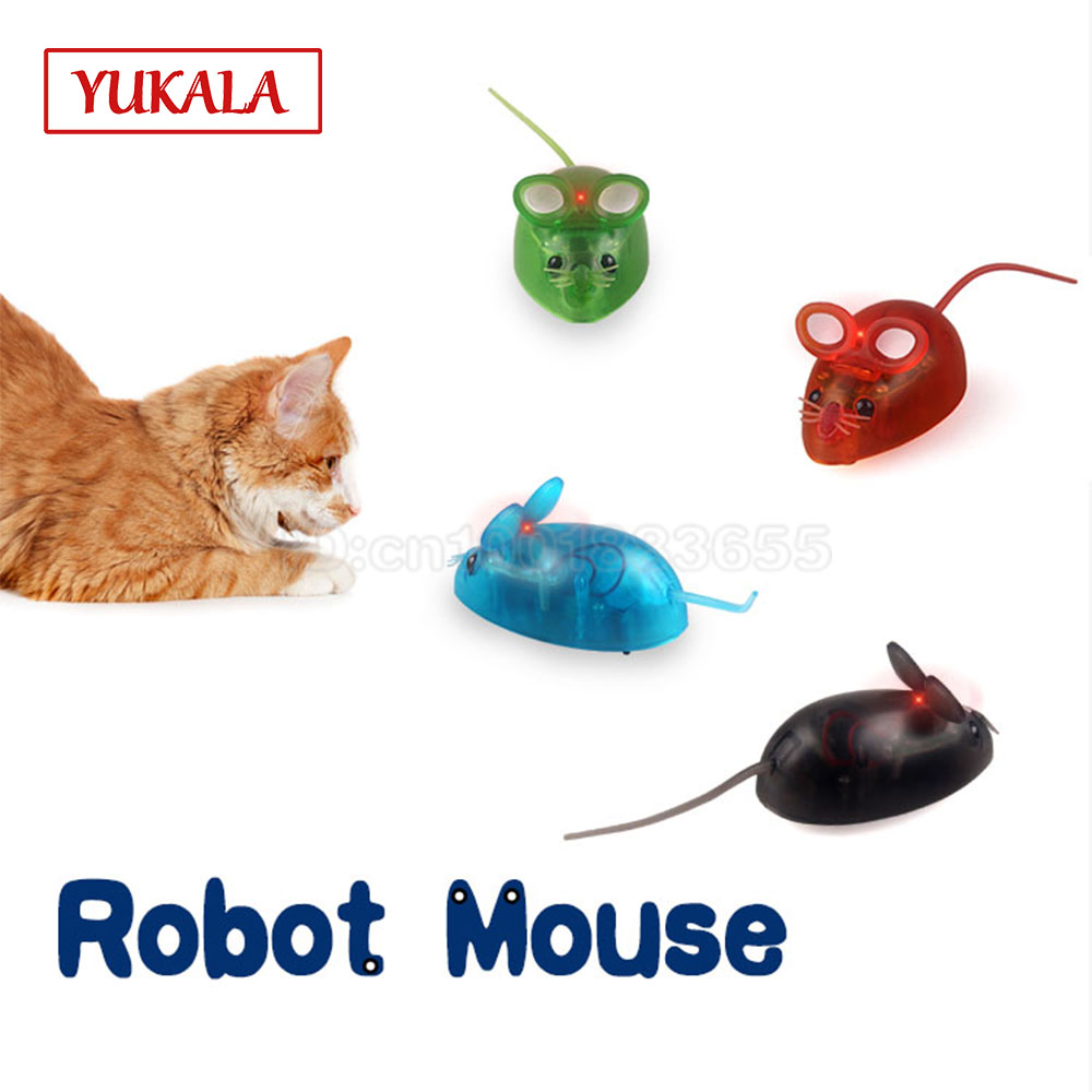 Robot Mouse Toys With LED Light 4 Color Funny Mini Bionics Game For Pet Cat Toys Kids Childrens Birthday Christmas Gift