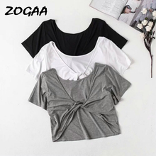 ZOGAA 2019 Women Solid Summer T-Shirts Korean New Brief Casual O-Neck Fashion Twist Knot White Black Grey Short Sleeve T Shirts knot at front v neck t shirts in black