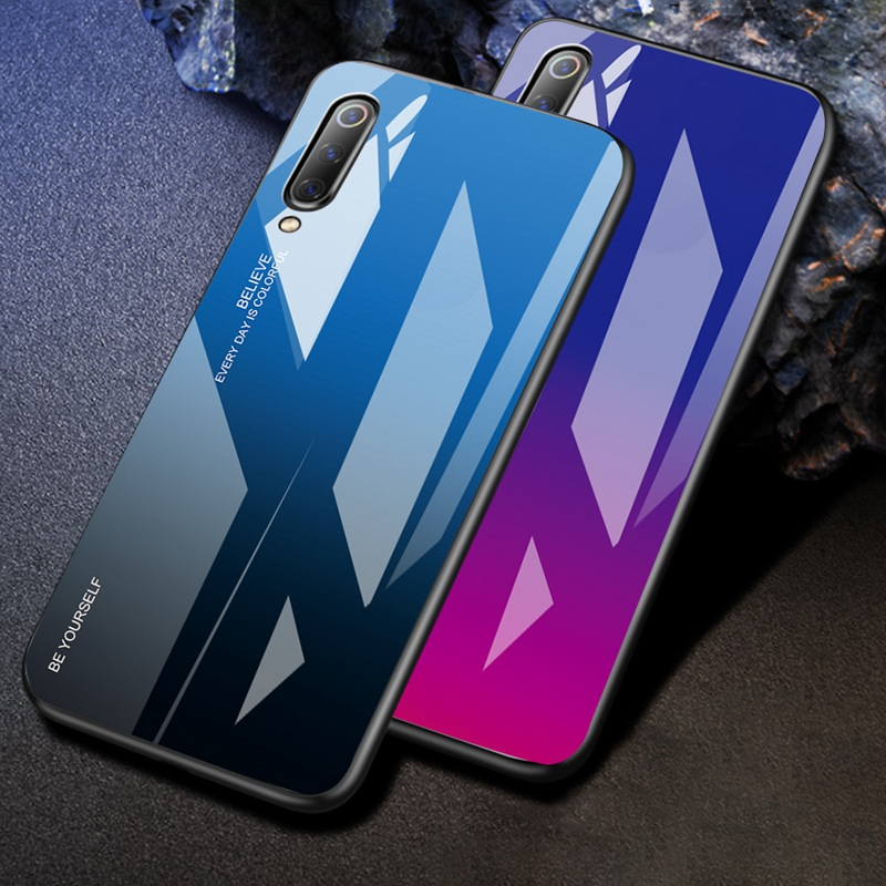 Gradual Change 9301 Colourful Tempered Glass for Xiaomi 8 Case Luxury Hard Back Cover Capa for