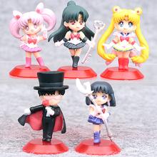 5 sztuk partia nowy Sailor Moon Tsukino Usagi Sailor Saturn Chibi stany zjednoczone Tuxedo Mask Chiba Mamoru Meiou Setsuna PVC rysunek zabawki dla dzieci prezent dla dzieci tanie tanio Żołnierz części i podzespoły elektroniczne Żołnierz zestaw Żołnierz gotowy produkt Nie wkładaj do ust Modelu Wyroby gotowe