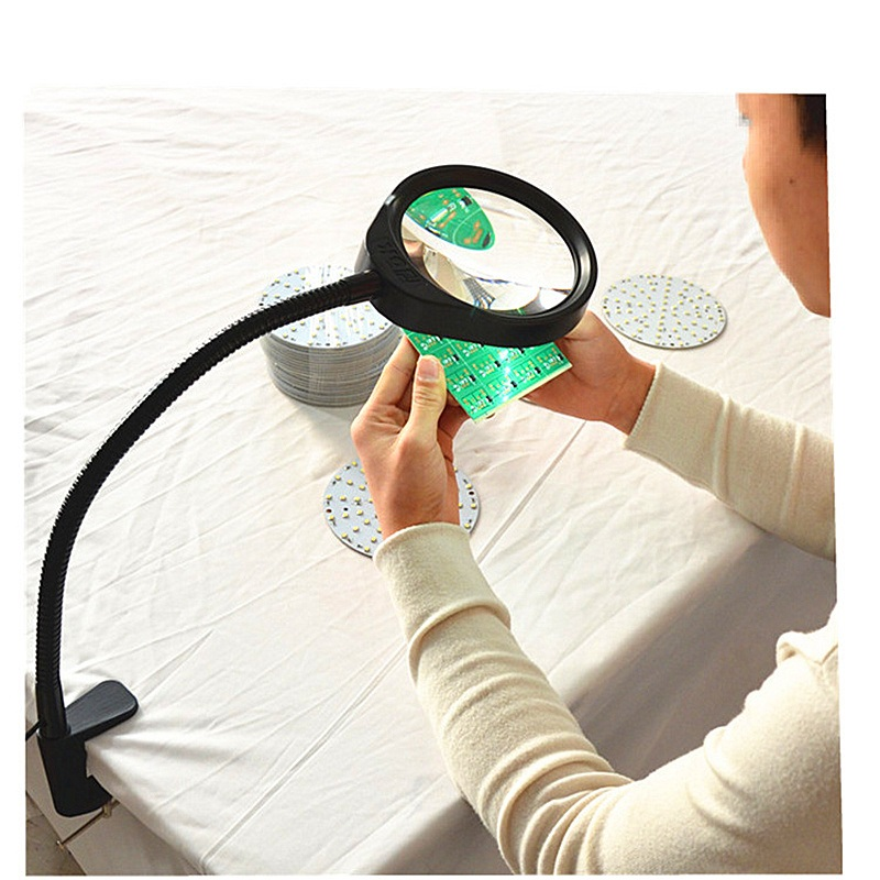 LED Magnifying Magnifier Glass with Light on Stand Clamp Arm Hands Free Adjust