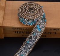 2.5 cm niebieski kamień Kryształ wykończenia Dżetów Wedding Bridal Aplikacja Strassu Łańcucha Siatki Krystalicznej łaty dla Odzież Home Decor