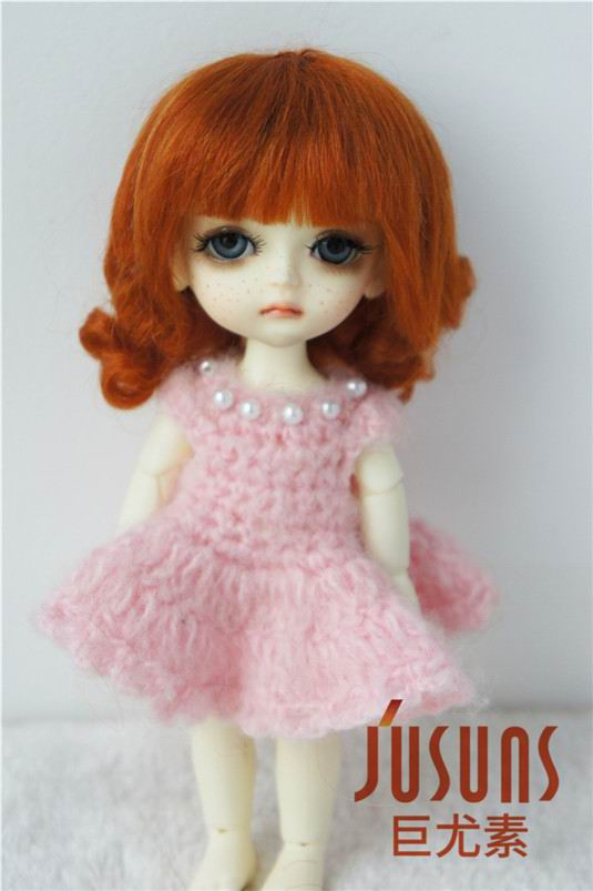 JD268 1/8 YOSD 100% mohair doll wigs 5-6 inch Short back curly BJD wig mohair doll accessories