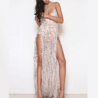 Women Heavy Metal Long Dress Sequined Fringed Party Dress Sexy Slit Dating Evening Vestidos Female Perspective Halter