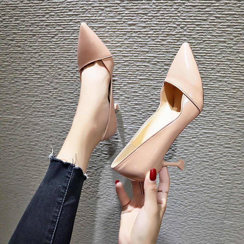 Yeni kadın tek ayakkabı Kore versiyonu vahşi sivri 7 cm yüksek topuklu bahar sonbahar moda sığ ağız iş ayakkabısı