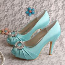 (20 Colors)Customized Heels Mint Green Ladies Shoes for Wedding Open Toe Dropship
