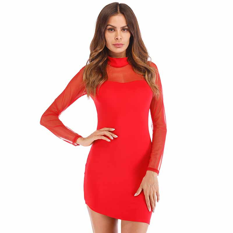 Fashion women summer dress 2019 new 4 colors full sleeve stand mesh perspective sexy nightclub mini party dress hot sale vestido
