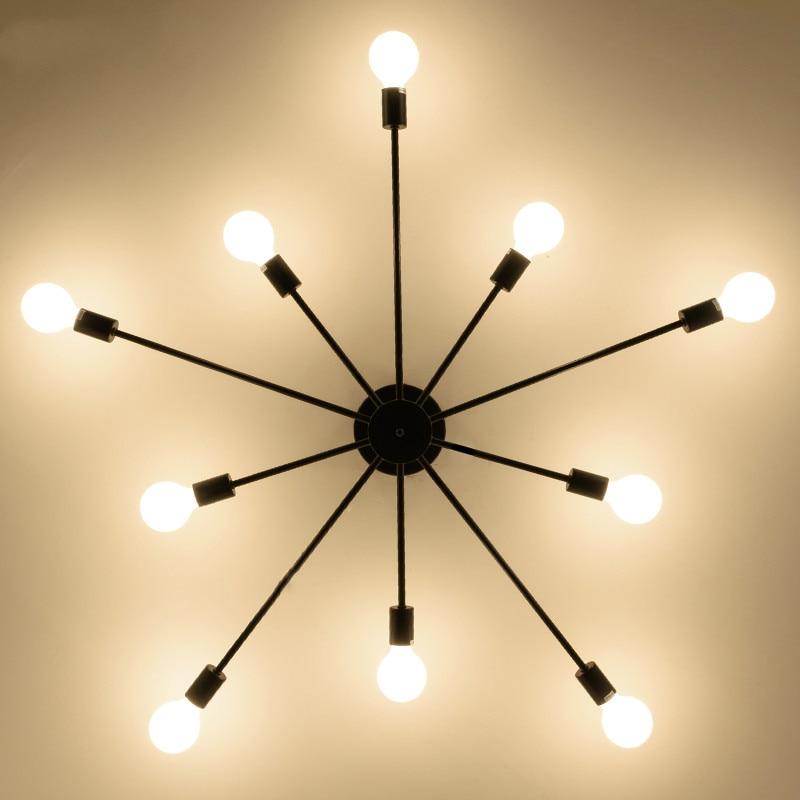 Vintage Ceiling Lights For Home Lighting Luminaire Multiple Rod Wrought Iron Ceiling Lamp E27 Bulb Living Room Lamparas De Techo