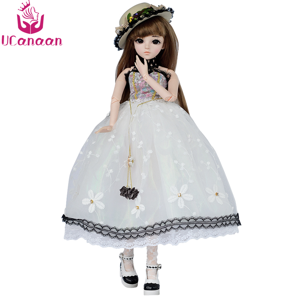 UCanaan 1/3 BJD Doll Girl Toys With Full Outfits Wig Clothes Shoes Makeup SD Dolls Toys for Children Gifts Collection цена 2017