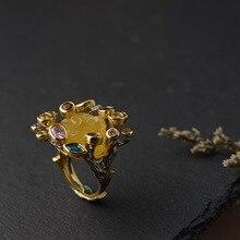 Anillos de plata de ley 925 con cera de abeja para mujer, ramas chapadas en oro, Vintage, de lujo, incrustaciones coloridas de piedra de circón