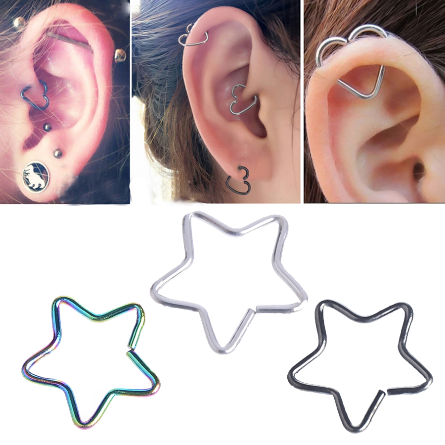 7ed5c98dfdac6 US $0.73 |6pcs Wholesale Heart Tragus Piercings Hoop Helix Cartilage Tragus  Daith Ear Studs Star Lip Nose Rings Piercing Silver Jewelry-in Body ...