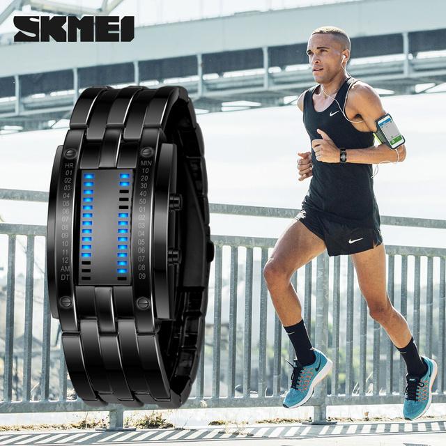 Skmei Marca Novo Smart Relógio de Aço Inoxidável À Prova D' Água Digital-Relógio LEVOU Homens Do Esporte de Multi função Relógio relogio masculino