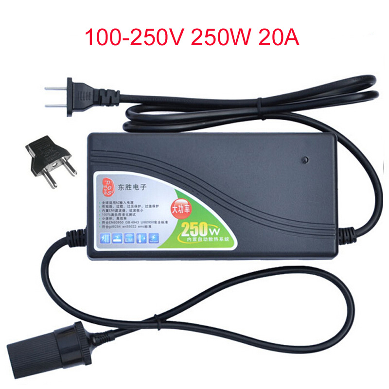 AC220v 100~250V Input 250W Power Converter DC 12V 20A Output Adapter Car Power Supply Cigarette Lighter Plug цена