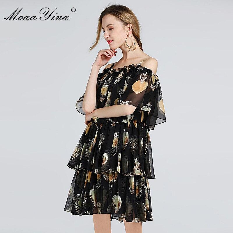 MoaaYina ファッションデザイナー滑走路ドレス夏の女性スパゲッティストラップのカスケードフリルビーチセクシーなシフォンドレス  グループ上の レディース衣服 からの ドレス の中 3