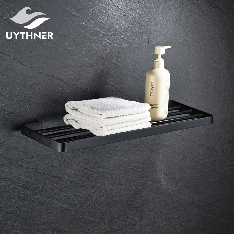 Wall Mounted Solid Brass Bathroom Towel Shelf Towel Rack Towel Holder Oil Rubbed Bronze bracket wall towel rack towel rack solid wood bathroom toilet wall shelf rack antique industrial iron shelf