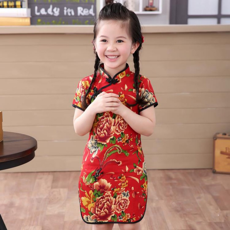 2018 New Year Chinese Girls Baby Dress Baby Girl Clothes QIPAO Cheongsam Red Cotton Traditional Dresses 2017new chinese traditional baby girls chi pao cheongsam red dress new year gift children clothes kids embroidery party dresses