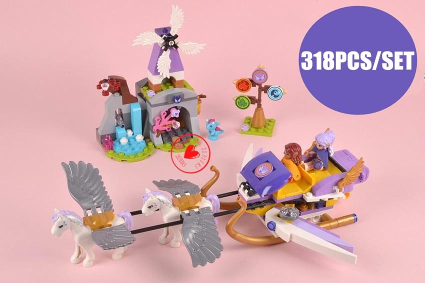 Galleria fotografica New Elves Aira's Pegasus Sleigh fit <font><b>legoings</b></font> elves Fairy figures <font><b>friends</b></font> Building block Bricks diy Toy girls kid gift set