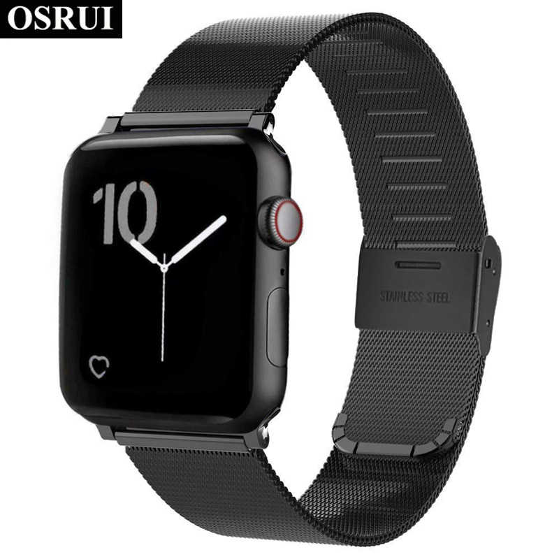 Milanese Loop untuk Apple Watch Band 4 3 44 Mm 42 Mm IWatch Strap Correa Aple Watch 38 Mm 40 Mm stainless Steel Gelang Aksesoris