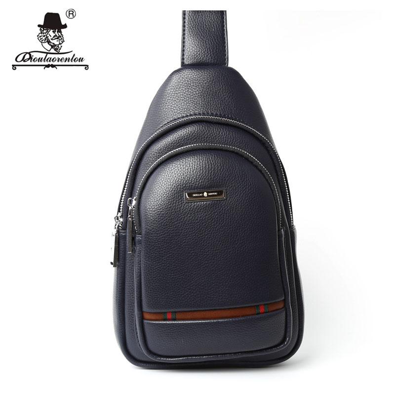 DIOULAORENTOU Casual Men Chest Pack Single Shoulder Strap Back Bag Split Leather Men Crossbody Bags Vintage Rucksack Chest Bag