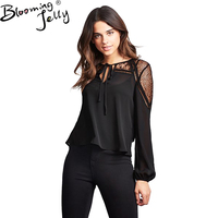 Blooming Jelly 2017 Blusas Femininas Women Blouses Lace Patchwork Blusas Sexy Hollow Out Casual Top Chiffon