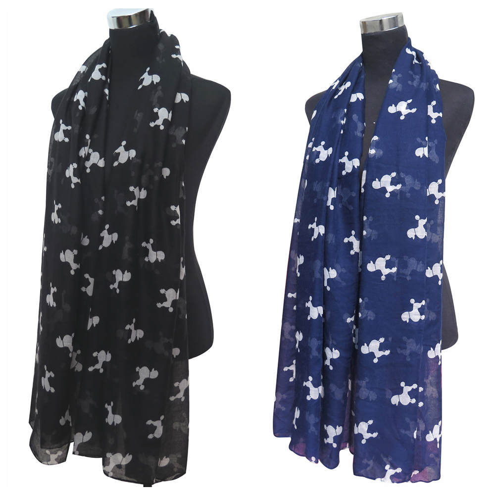 10pcs lot Poodle Dog Animal Print Women s Long Scarf Shawl Wrap Large Size  Lightweight 36a3aaa76a8c