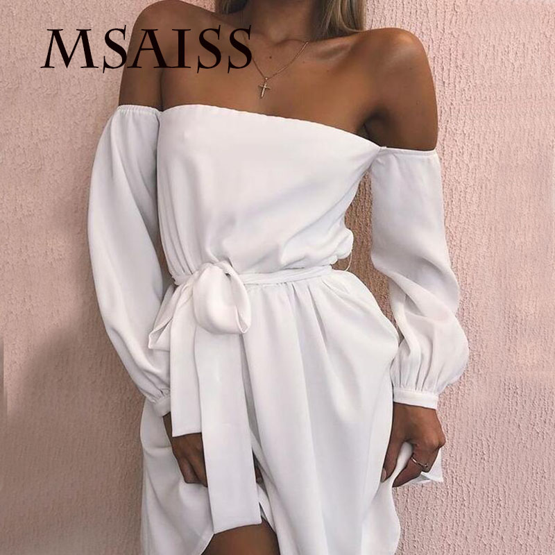 MASAISS Women Summer's Sexy Off Shoulder Dress  Belt Lady's Dress Black Nightclub Party Dresses