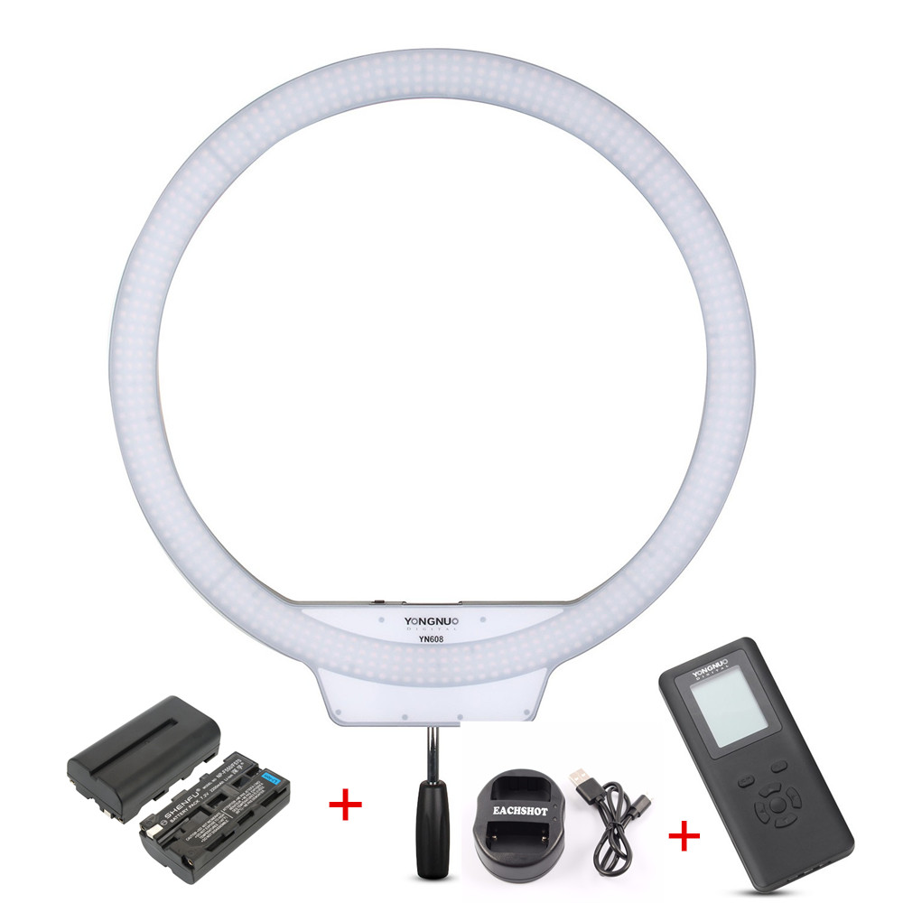 YONGNUO YN608 5500K LED Photography Photo Studio Ring Light Kit Battery & Charger CRI 95+ 608PCS LED Video Annual Lamp Youtube