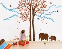 Stijlvolle Boom Herfst Boom Vallende Bladeren Met Leuke Familie Olifant en Cloud Mural Kids Baby Slaapkamer Decor Vinyl Hot Koop W-843