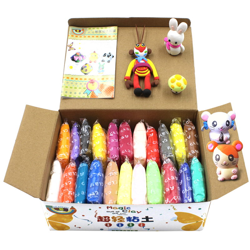 24pcs Ultra Light Clay Modelling Squishy Fluffy Handgum Intelligent Plasticine Kids Play Dough Air Dry Clay Creative DIY Toys