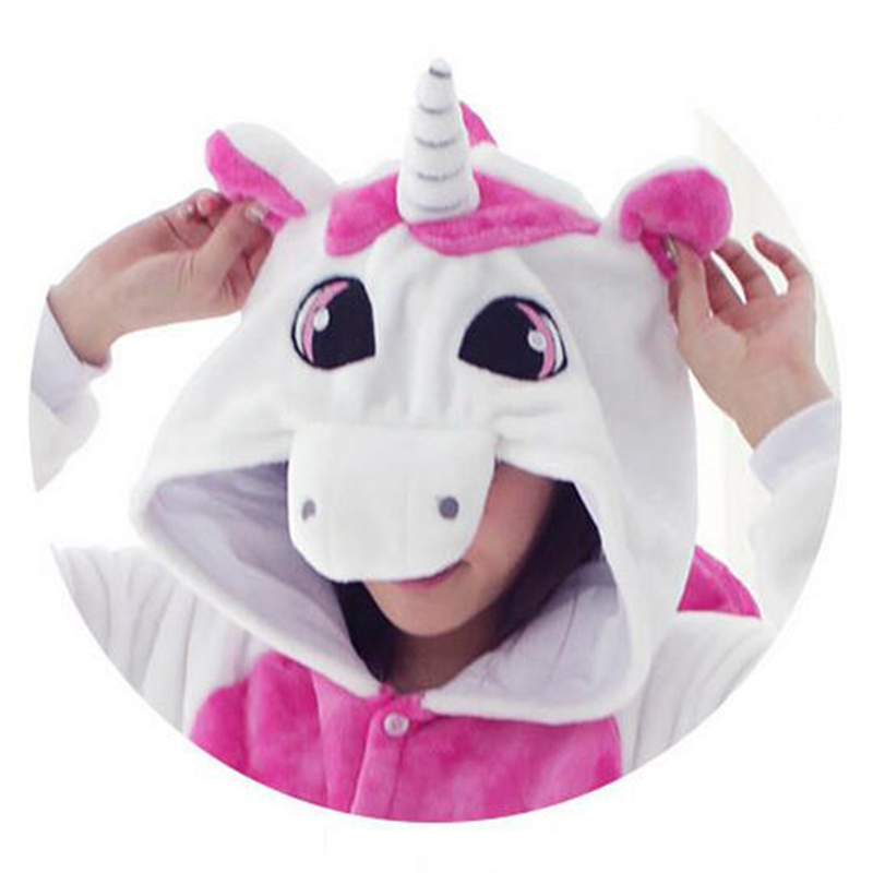 Pink Adult Unicorn Pajamas Flannel Unicorn Onesie Fantasias Love Live Cosplay Halloween Costumes For Women