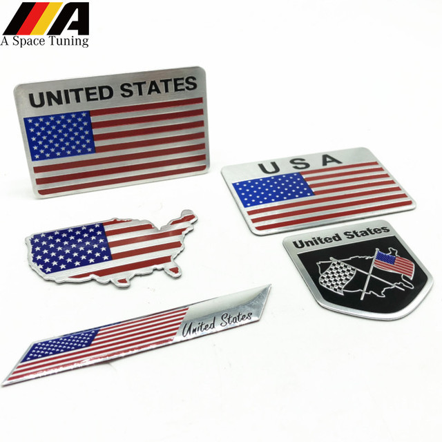 3d Aluminium American Usa Map National Flag Emblem Badge Car Styling