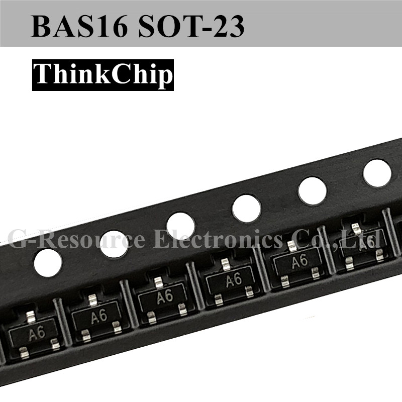 (100pcs) BAS16 SOT-23 SMD Small Signal Fast Switching Diodes (Marking A6)