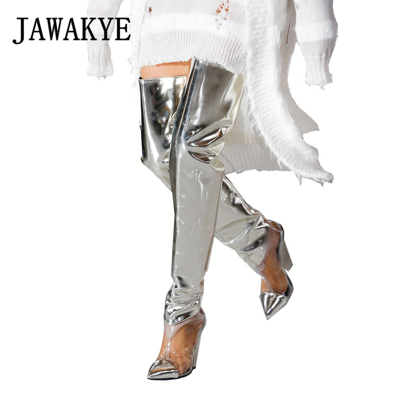 2019 Runway Shoes Silver PVC Clear Thigh High Boots Women Sexy Spike Wedge High heels Shoes Fashion Party Long Boots2019 Runway Shoes Silver PVC Clear Thigh High Boots Women Sexy Spike Wedge High heels Shoes Fashion Party Long Boots