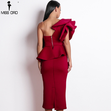 Missord 2019 Women Sexy Bodycon  Off Shoulder Bandage Dresses Female Ruffles Backless Elegant Club Dress Vestido  TB0020