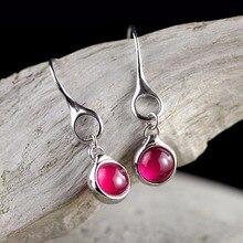 hot deal buy l&p new fashion 925 sterling silver drop earrings for women girl handmade red carnelian earrings fine jewelry wholesale