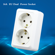 EU Dual  Surface Mounted Power Socket, White German Standard Panel, 16A Wall Socket