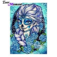 Ever Moment Diamond Painting Sugar Skull Girl Blue Flower Snow DIY 5D  Diamond Embroidery Rhinestones Full Mosaic Kit ASF920 c2cd0101992b