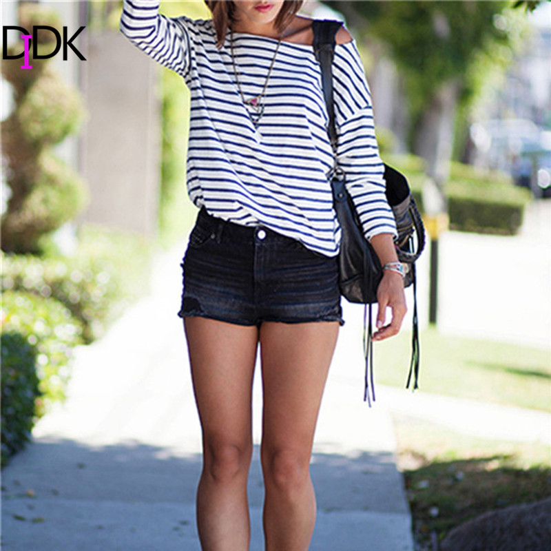 2016 spring new arrivals arrivals fashion blue and white for Blue and white striped long sleeve t shirt