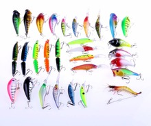 30pcs/set Mixed Fishing Lures Bass Baits Jointed Minnow Popper Crankbaits Swimbait Bionic Plastic Shrimp Topwater Tackle Hook
