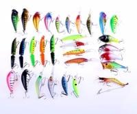 30pcs/set Mixed Fishing Lures Bass Baits Jointed Minnow Popper Crankbaits Swimbait Bionic Plastic Shrimp Topwater Tackle Hook