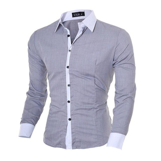 Venda quente Dos Homens Novos da Marca Camisas de Vestido Camisas de Manga Comprida Casual Masculino Sólido Branco/Azul Escuro Slim Fit Roupas