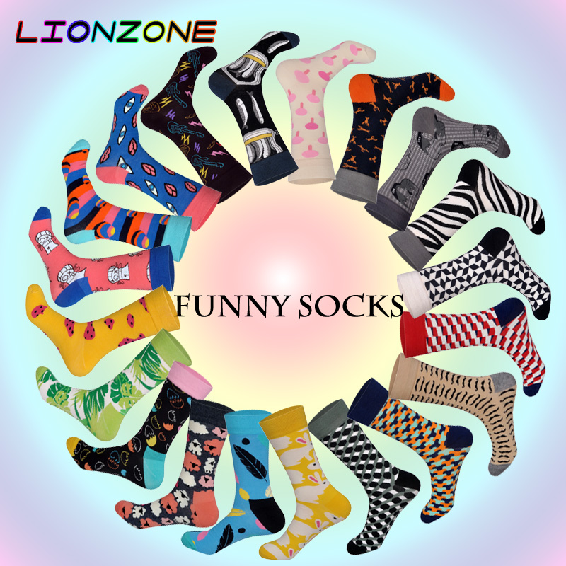 Lionzone Brand Men Socks Funny Designer 20 Colors Grappige Sokken Hip Pop Streetwear Cotton Breathable Skate Happy Socks