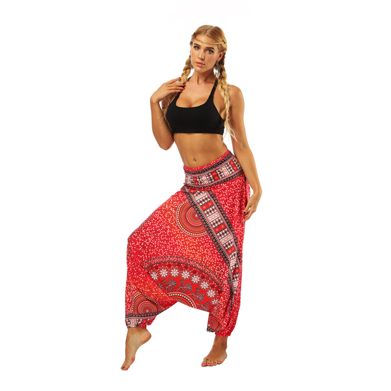 Boho Sarouel Women Loose Beach Party Trousers Pleated High Waist Harem Pants Summer Beach Sports Wear