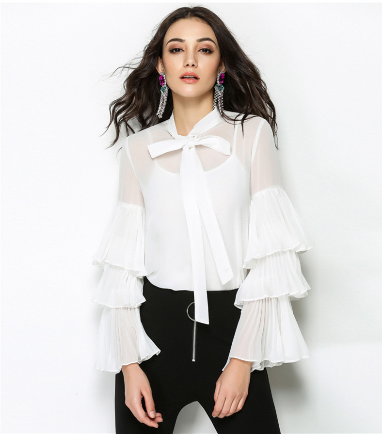 Urumbassa women white shirts 2018 Spring flare sleeve boetie blouse elegant long shirt tops