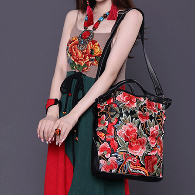 XIYUAN BRAND 2017 chinese style Lady Vintage cow Genuine Leather Embroidery big Cross body Bag New woman Shoulder Messenger bagsXIYUAN BRAND 2017 chinese style Lady Vintage cow Genuine Leather Embroidery big Cross body Bag New woman Shoulder Messenger bags