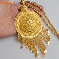 Anniyo Africa Big Pendant Necklaces Women Ethiopian Jewelry Gold Color Nigeria Congo Sudan Ghana Arab Gifts