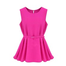 Summer Women Sleeveless Off The Shoulder Solid Chiffon Belt A-line Mini Dress