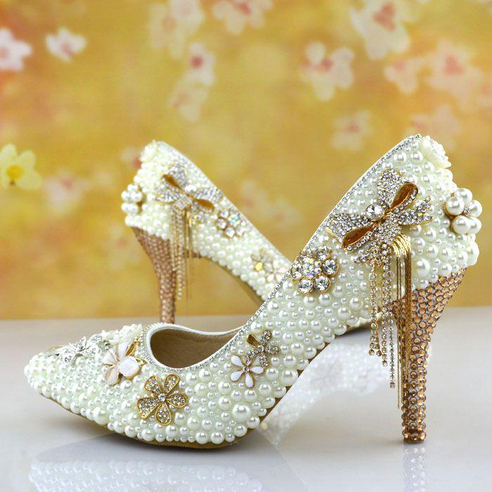 Nouveau ivoire perles champagne or cristal strass femmes chaussures de mariage NQ064 avec sexy arc glands dame dîner partie pompe